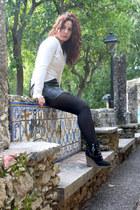 leather Naf Naf skirt - pull&bear top - Diesel wedges