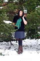 black banana republic sweater - green Anthropologie scarf - gray Ann Taylor Loft