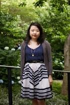 ivory Anthropologie skirt - beige Cole Haan shoes - navy JCrew shirt