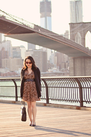 brown Forever 21 dress - black Zara bag - black Buttons cardigan