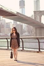 brown Forever 21 dress - black Zara bag - black Buttons cardigan