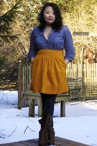 blue banana republic shirt - gold Odille Anthropologie skirt - gray HUE stocking