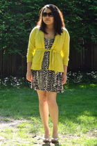 yellow J Crew sweater - black Mink Pink dress - beige Sofft shoes