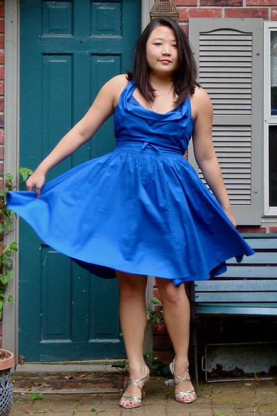 blue Bamali dress - gold banana republic shoes