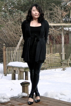 black sweater - black H&M dress - black Romeo & Juliet Couture leggings - black