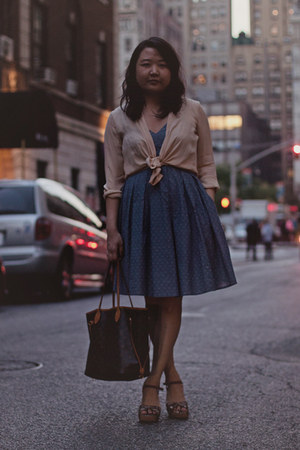 dark brown Louis Vuitton bag - periwinkle eShakti dress - neutral vince shirt