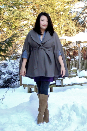 gray Mossimo Target coat - blue banana republic shirt - purple American Apparel