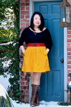 black American Apparel shirt - red Target belt - gold Odille Anthropologie skirt
