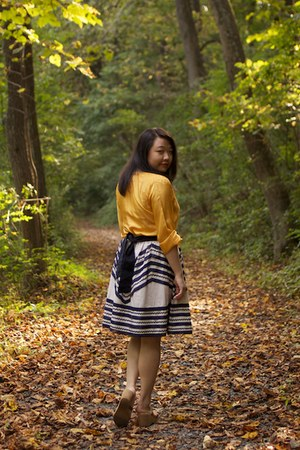 off white Anthropologie skirt - gold From India blouse