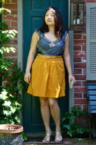blue free people shirt - yellow Odille Anthropologie skirt - gold from japan bel