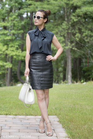 leather allsaints skirt - silk Jason Wu shirt