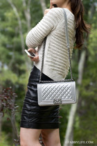 cropped sweater Anthropologie sweater - le boy small Chanel bag