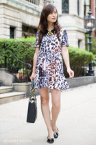 Zara dress - varina flats Salvatore Ferragamo flats - horn Nest necklace
