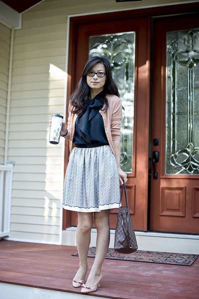 silk Miss Wu skirt - cashmere LKBennett sweater - LV bag - LKBennett pumps