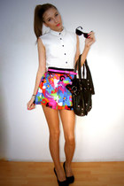 white shirt - chartreuse skirt - aquamarine skirt - hot pink skirt