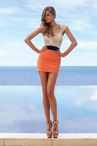 eggshell top - orange skirt