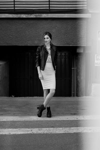 black leather c&a jacket - ivory H&M blouse