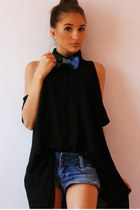 black Zara shirt - blue no name shorts