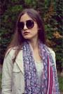 Beige-bershka-coat-blue-zara-jeans-magenta-stradivarius-scarf