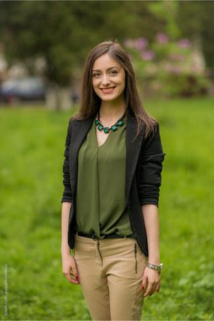 olive green poema blouse - tan reserved pants - black reserved belt