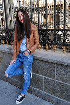 blue ripped denim Zara jeans - burnt orange faux leather Pimkie jacket