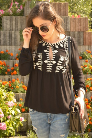 light blue Zara jeans - black vintage bag - black New Yorker sunglasses