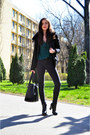 Black-faux-fur-pimkie-jacket-green-ruffles-zara-shirt-black-meli-melo-bag