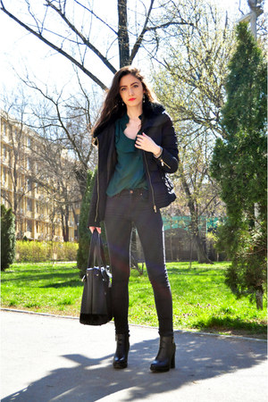 green ruffles Zara shirt - black faux fur Pimkie jacket - black meli melo bag