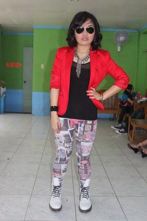 H&M leggings - white Dr Martens boots - red red blazer Mango blazer