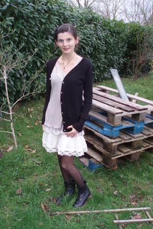 Zara top - Cherie leggings - Zara vest - H&M skirt - Zwaroski necklace