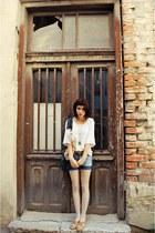 faux leather flats - denim jeans jeans - cotton Zara blazer - silk bag
