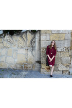crimson Ellos dress - dark brown fringe leather Zara bag