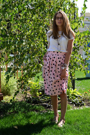 pink Alexander skirt - burnt orange leather asos sandals
