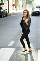 black Converse shoes - black windsor jacket - black Bebe pants