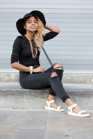 black lace-up Nasty Gal bodysuit - black wide brim Calico hat