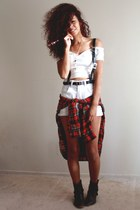 ruby red plaid Ralph Lauren top - white crop top Arden B top