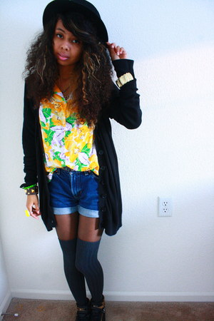 yellow blouse - black windsor hat - black Express cardigan