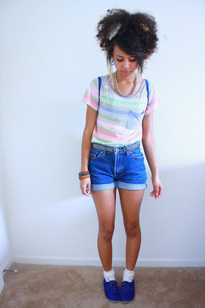 light purple rainbow stripes Old Navy shirt - blue suede Forever 21 shoes