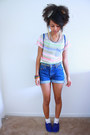 Blue-suede-forever-21-shoes-light-purple-rainbow-stripes-old-navy-shirt