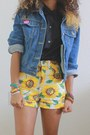 Sky-blue-levis-jacket-yellow-american-apparel-shorts