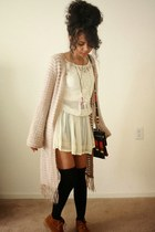 tan knitted decree cardigan - tawny suede boots - nude lace Forever 21 dress