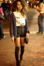 Dark-brown-studded-mossimo-boots-black-street-style-thrifted-shorts