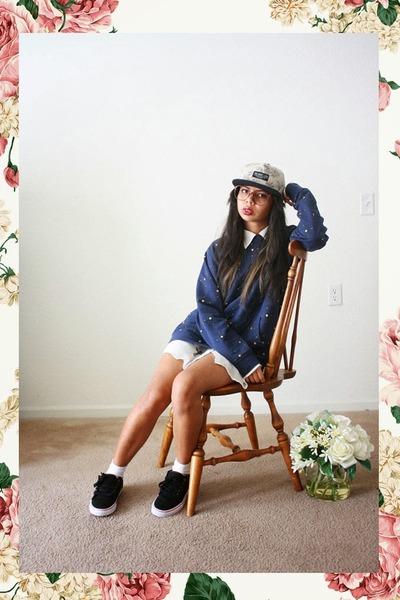 tan floral print The Quiet Life hat - black comfy Vans shoes