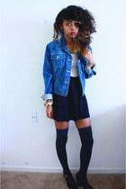 blue jean jacket Levis jacket - neutral h&m divided dress