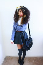 black Tobi bag - black Reeboks shoes - charcoal gray windsor socks