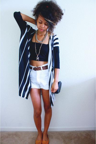 white Old Navy shorts - black bandeau bra - black Love Culture cardigan