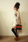 Tawny-suede-boots-nude-lace-forever-21-dress-red-stripes-thrifted-purse