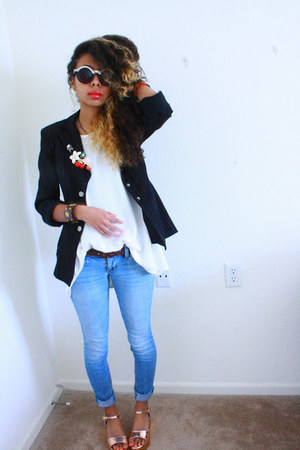 gold flatform Lulus sandals - black blazer - white shirt