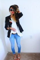 gold flatform Lulus sandals - black blazer - white shirt