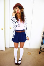 crimson hat - white Forever 21 cardigan - light pink top - navy Forever 21 skirt